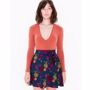 American Apparel Floral Demi Wrap Skirt S/M